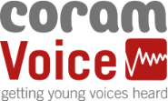 Coram Voice: Logo. Getting your voice heard.