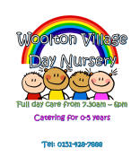 Day Nursery Logo, 4 cartoon children smiling under a rainbnow.