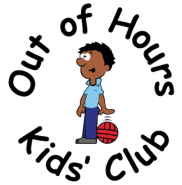 Out of Hours Kids Club logo (boy bouncing a basketball)