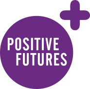 Positive Futures Logo - purple circle and plus sign