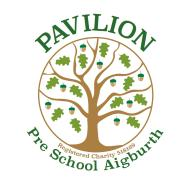 Pavilion Preschool logo shows a tree with tiny acorns. Registered charity number 518169