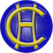 Clifford Holroyde school badge- blue circle with yellow C and H characters