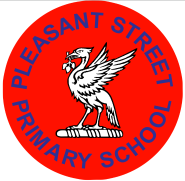 Pleasant St Primary Logo - liver bird on red background