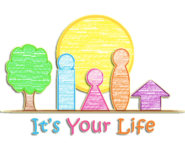 Its your life logo - sun, tree, family and house
