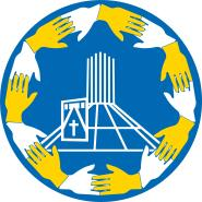 St Nicholas school badge, blue background with yellow and white hands around a picture of the metropolitan cathedral
