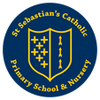 School logo, Blue shield with yellow markings