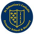 School logo, Blue shield with yellow markings