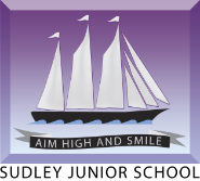 Image of a sailing ship. Sudley Junior School. School motto: Aim High and Smile
