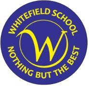 Whitefield School Badge - blue circle with Nothing but the Best written on it in yellow