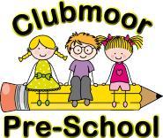 Clubmoor pre-school text, cartoon of three children sitting on a yellow pencil