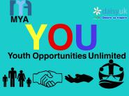 MYA YOU logo with YOU in big colourful letters in the centre and youth opportunities Unlimited written underneath