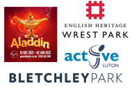 Aladdin pantomime image and logos for Wrest Park English Heritage, Bletchley Park and Luton Active