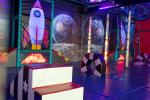 Space sensory room with bubble tubes and rocket
