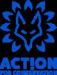 A logo depicting a blue wolf