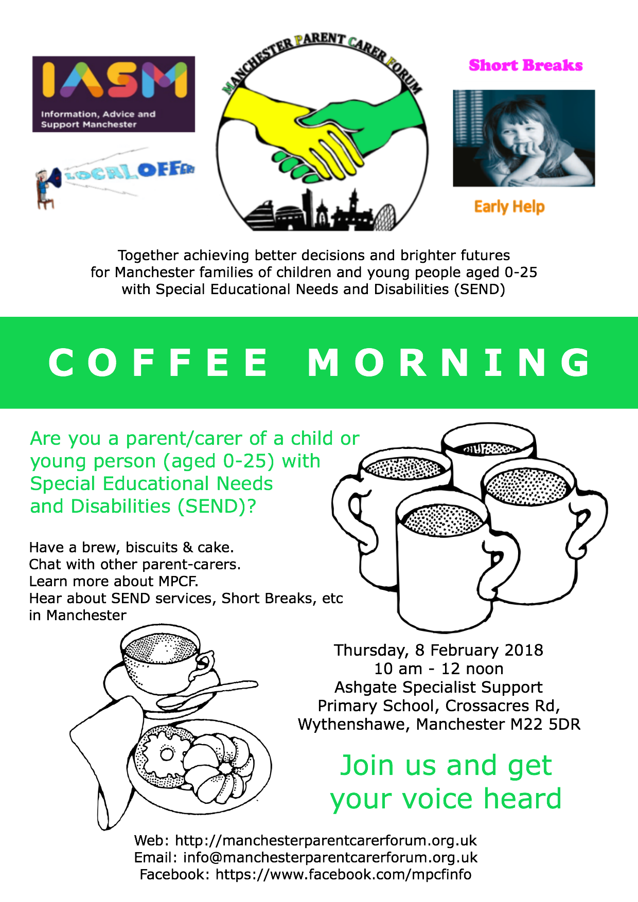 Flyer for MPCF's coffee morning at Ashgate Specialist Support Primary School