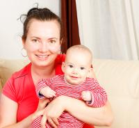 Mum holding baby