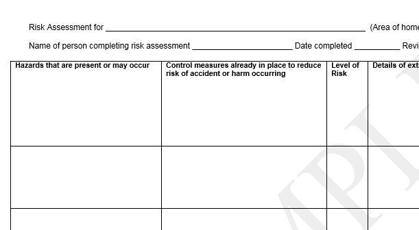 Risk Assessment Form – Download Risk Assessment Template