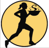 Soup Runner Logo, Person running with bowl of soup