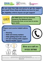 Flyer for the advice line of the Direct Help & Advice charity