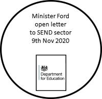 Minister Ford open letter to SEND 9th Nov 2020