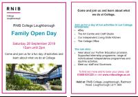 Flyer for family Open Day