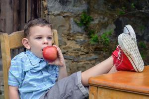 Boy sitting at table eats apple