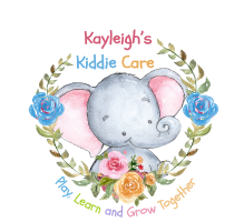 Logo for Kayleigh's Kiddie Care - a baby elephant surrounded by flowers