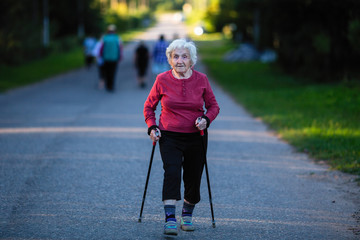 older person Nordic walking