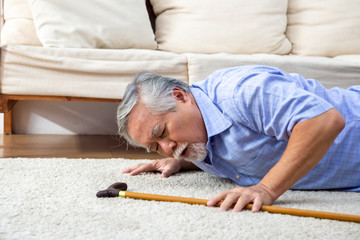 old person fallen in a lounge