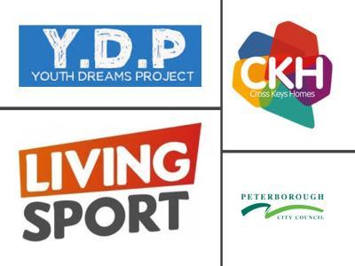 Y.D.P Logo, Living Sport Logo Cross Keys Homes Logo, Peterborough City Council Logo