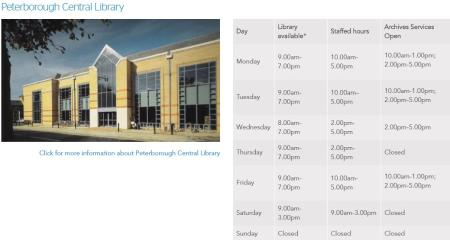 Central Library Opening times