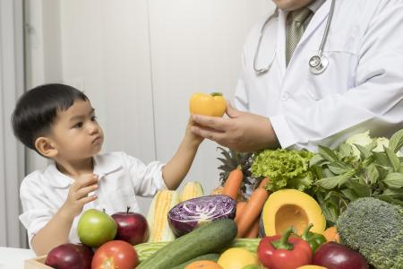 Child with healthy food