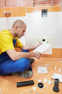 Man fitting bathroom