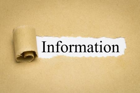 The word information on a brown paper background