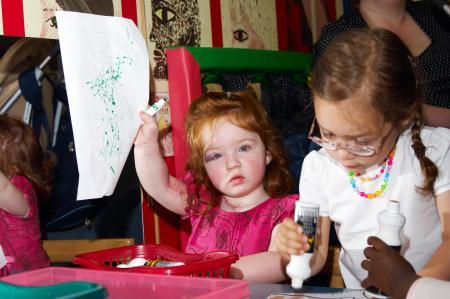 Children engaging in craft at school