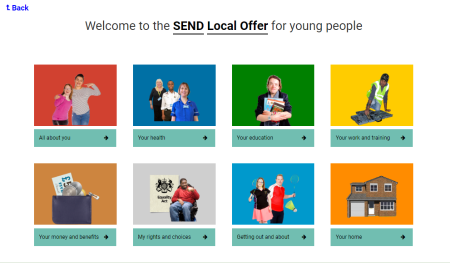 Local Offer for Young People landing page