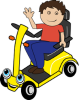 Child on mobility scooter logo