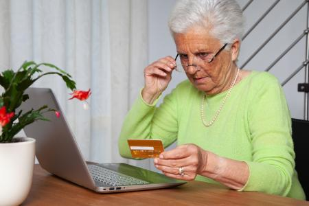Older lady paying online