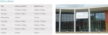 Orton Library Opening times