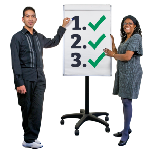 Two people with a flip chart