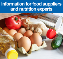 Information for food suppliers and nutrition experts