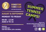 Summer Tennis Camps Poster.