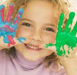 Photo of girl with painted hands
