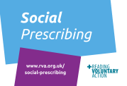 Social Prescribing logo, Reading Voluntary Action logo