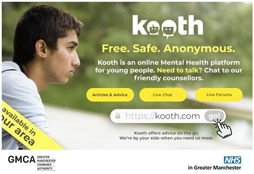 Kooth online counselling service for young people