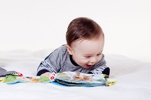 baby with book