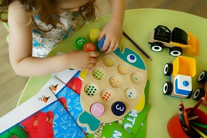child playing preschool