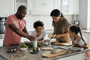 family together cooking