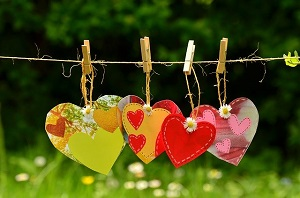 paper hearts hanging on a line