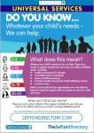 Universal Services Guide showing some of the services to support children 0 - 25 and their families.